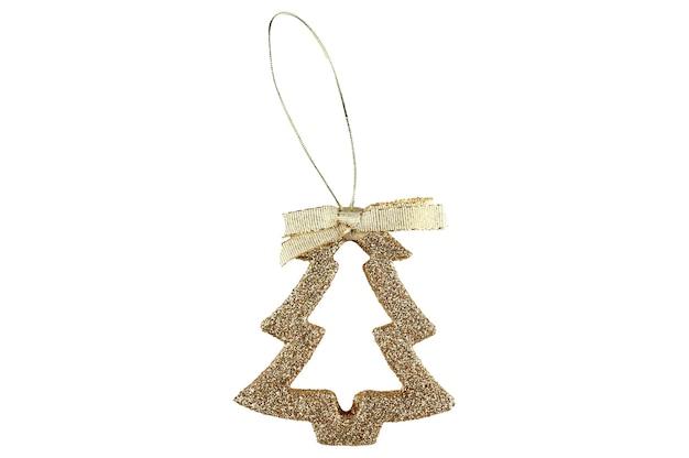 Новогоднее украшение в виде золотой елки на изолированном пространстве