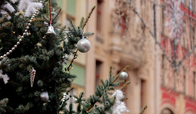Christmas decoration on market in wroclaw, poland