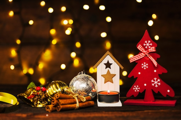 Christmas decoration near fairy lights
