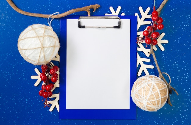 Christmas decoration and notebook blank paper