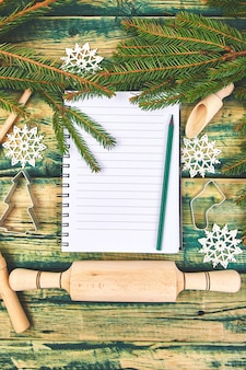 Christmas decoration and notebook for recipes