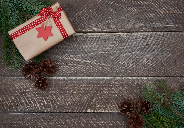 Christmas decoration on an old wooden plank
