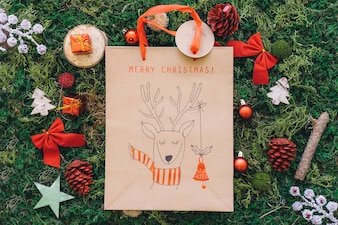 Christmas decoration on grass with bag