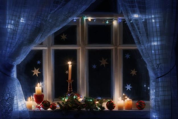 Новогоднее украшение на окне