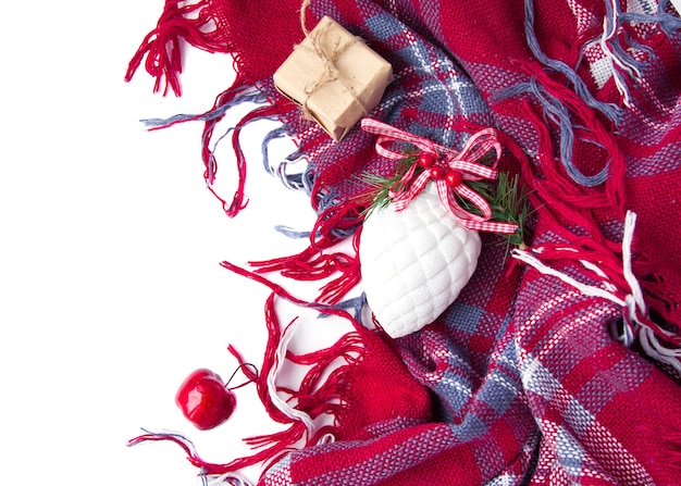 Christmas decoration,  present, apple, fir tree, plaid. winter time top view. christmas mood