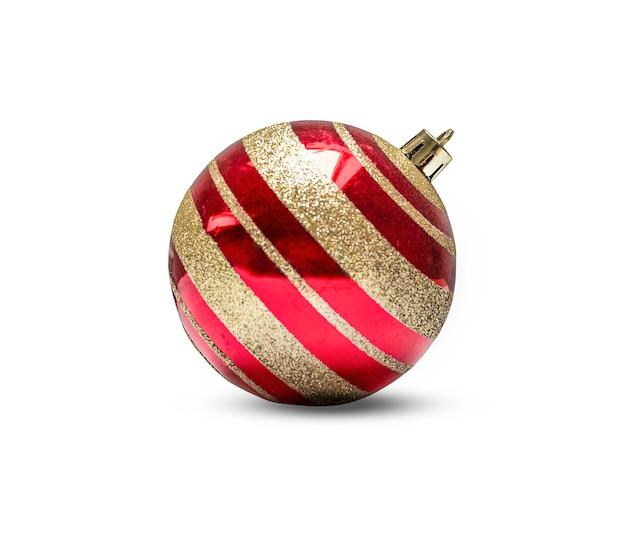 白い背景で隔離の金の縞模様の赤いクリスマスの装飾