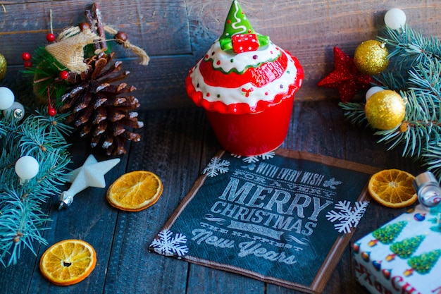 Christmas decoration, on a rustic wooden surface