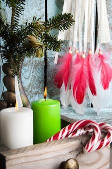 Christmas decoration on shabby wooden background