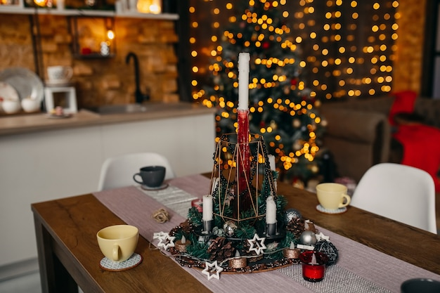 Christmas decoration on table at kitchen