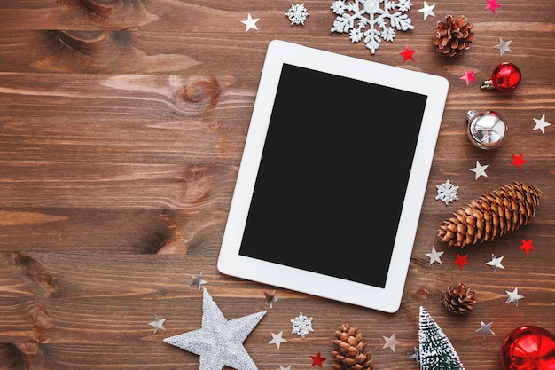 Christmas decoration and a tablet