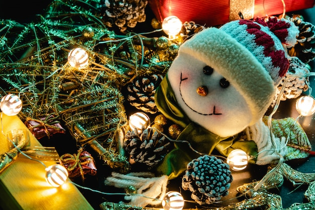 Christmas decoration, teddy and lights