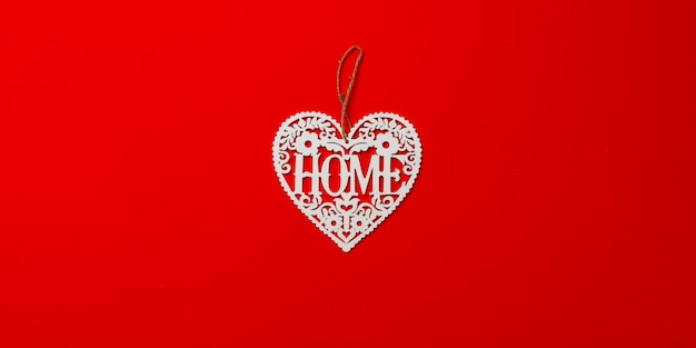 Christmas decoration. white heart on a red background.
