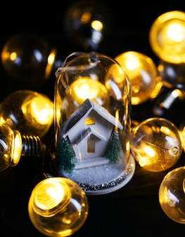 Christmas decoration white house inside glass between lights bulb
