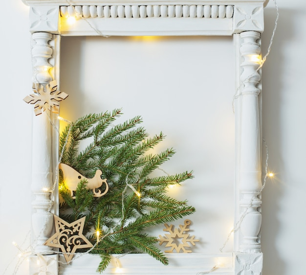 Christmas decoration on white wall