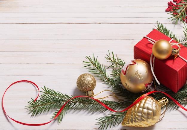 Christmas decoration on white wood