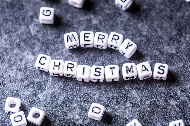 Christmas decoration wi the words merry christmas