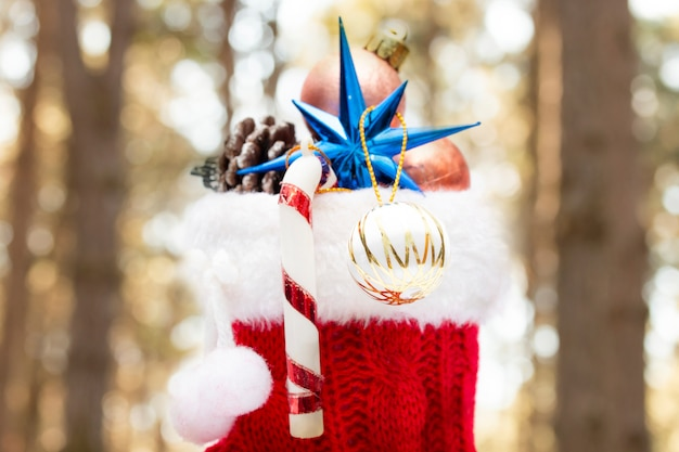 Christmas decoration with abstract bokeh blur background.