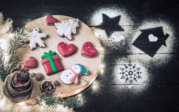 Christmas decoration with festive cookies