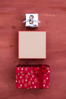 Christmas decoration with gift boxes in different sizes