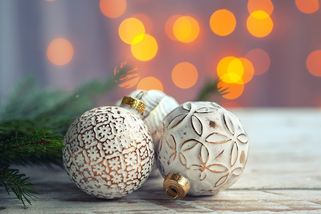 Christmas decoration with golden christmas balls