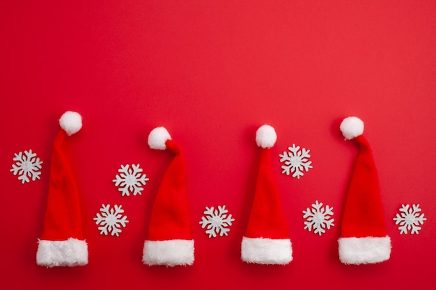 Christmas decoration with red santa hats