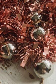 Christmas decoration with rose gold garland.
