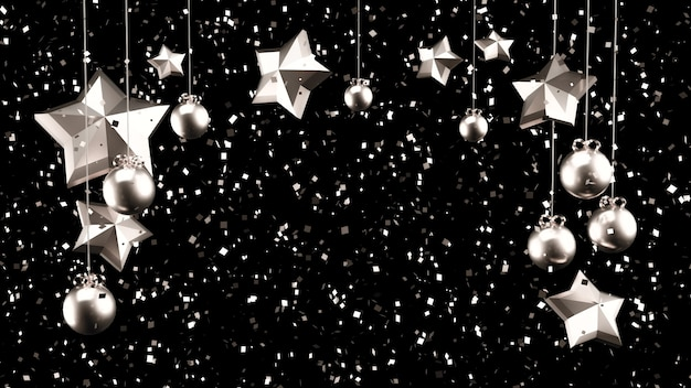 Christmas decoration with silver sparkles. 3d illustration, 3d rendering.