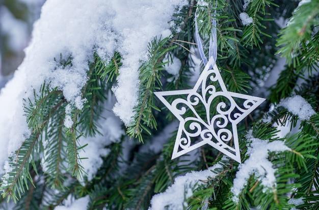 Новогоднее украшение со снегом на зимней природе