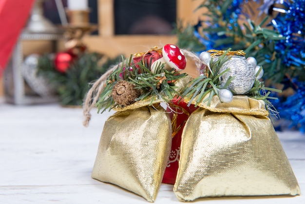 Christmas decoration with two small gifts