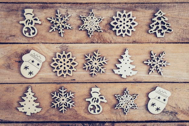Christmas decoration with wood snowflake on table with copy space
