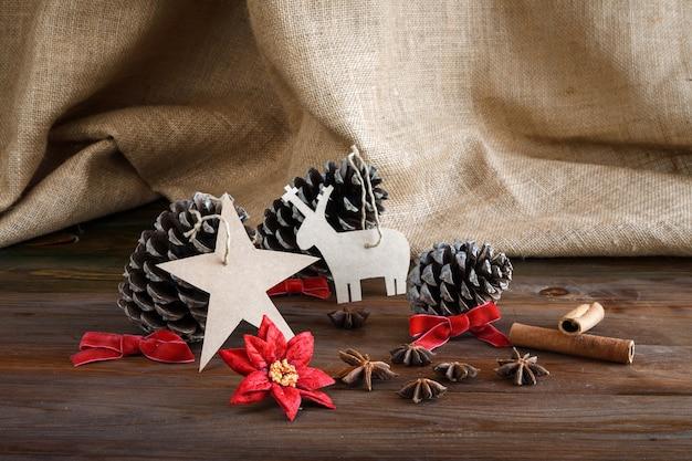 Christmas decoration on wood and fabric sack