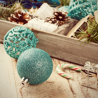 Christmas decoration in wooden box.