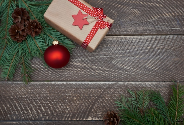 Christmas decoration on wooden planks