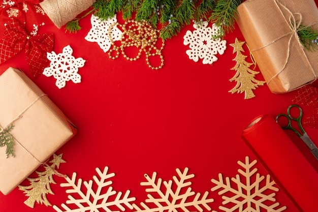 Christmas decorations background on red with copy space