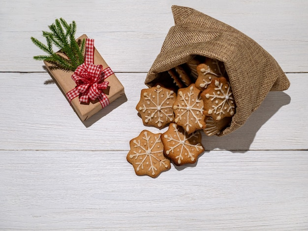 Christmas decorations box gift ginger cookies glazed with powdered sugar in bag new years gifts