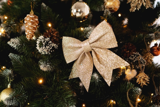 Christmas decorations, christmas tree with bow