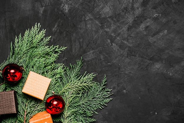 Christmas decorations on dark background.