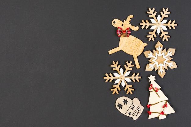 Christmas decorations on dark table