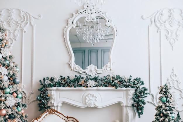 Christmas decorations in elegant living room
