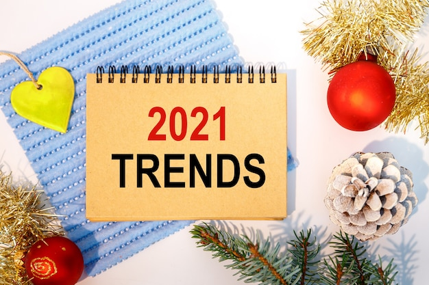 Christmas decorations and inscription on the notebook   trends