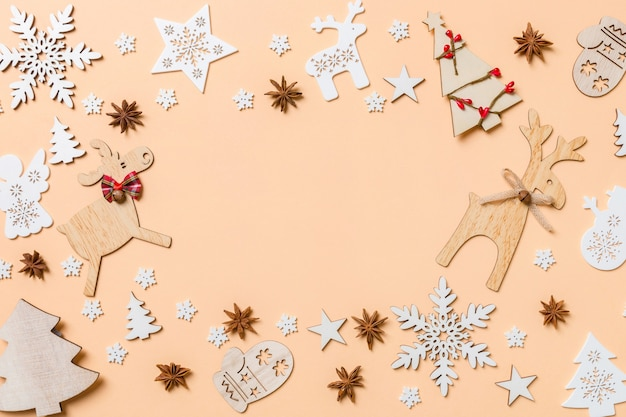 Christmas decorations on orange table