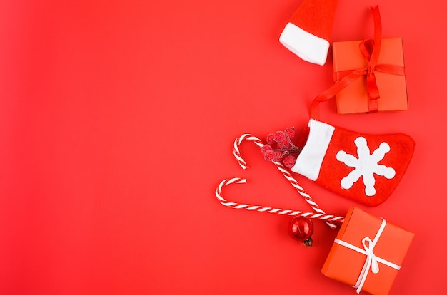 Christmas decorations on a red background