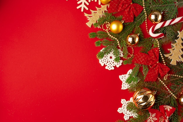 Christmas decorations  on red with copyspace