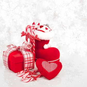 Christmas decorations on red