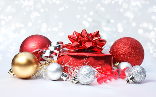 Christmas decorations on a silver lights background