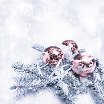 Christmas decorations, toned image, text space