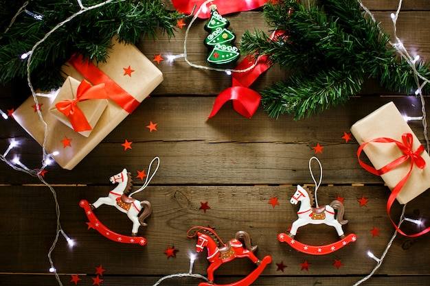 Christmas decorations in traditional red and green colors