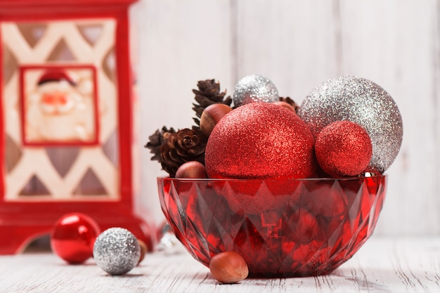 Christmas decorations on white wooden table