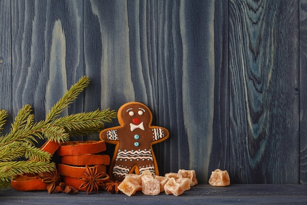 Christmas decorations with gingerbread cookie