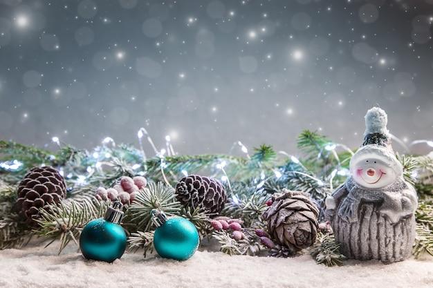 ライトと星のクリスマスデコレーション